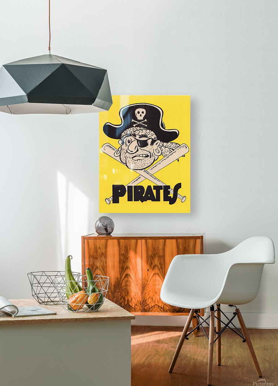 Vintage Sixties Pittsburgh Pirates Art  HD Metal print with Floating Frame on Back