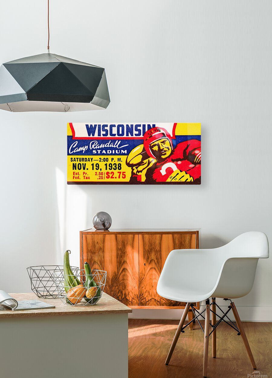 1938 Wisconsin Badgers Football Ticket Remix Art  HD Metal print with Floating Frame on Back