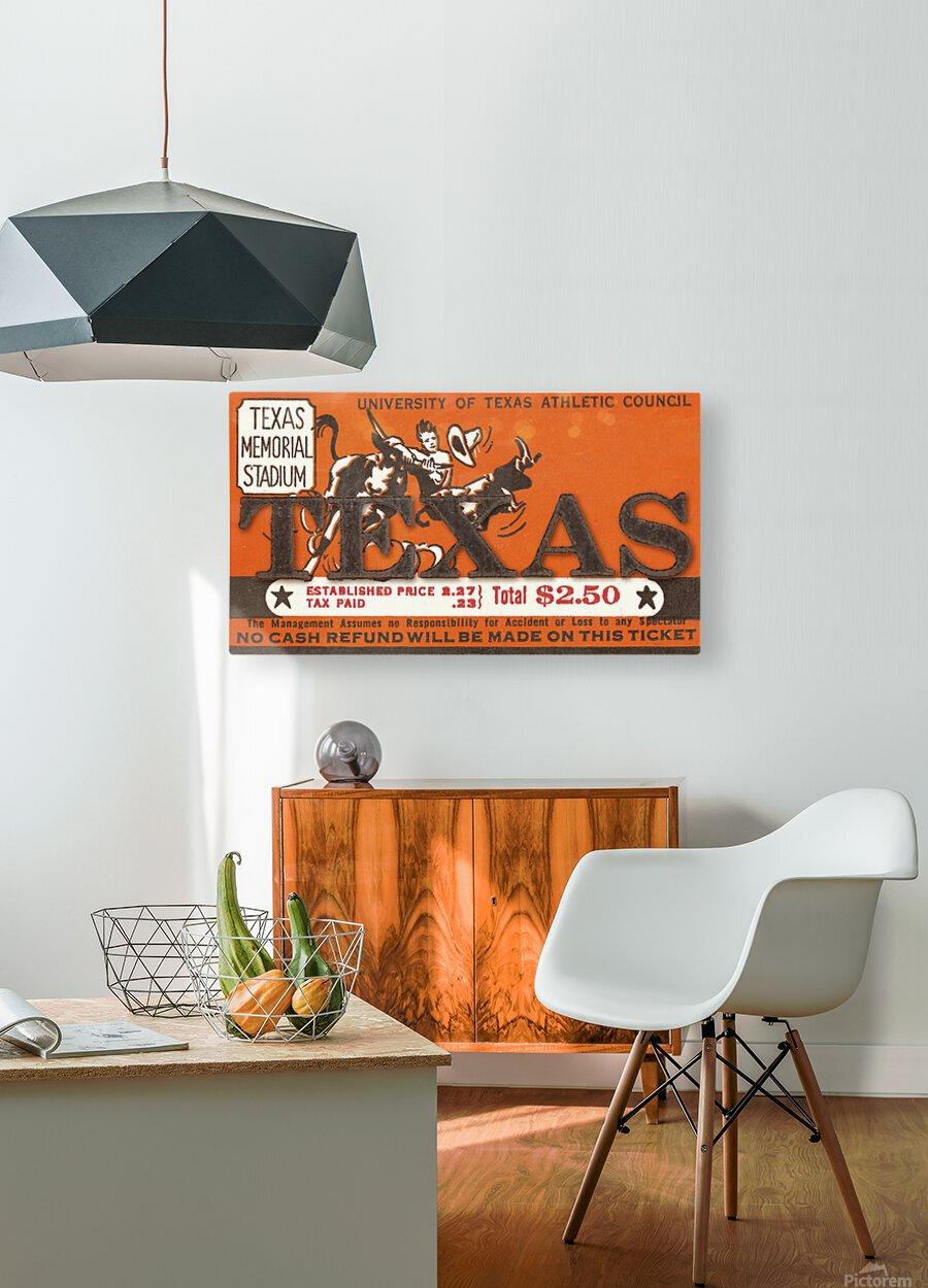 Vintage Thirties Texas Longhorn Football Ticket Remix Art  HD Metal print with Floating Frame on Back