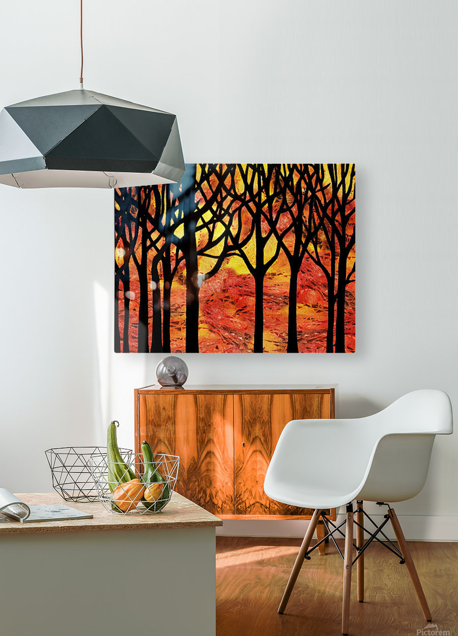 Abstract Fall Forest  HD Metal print with Floating Frame on Back
