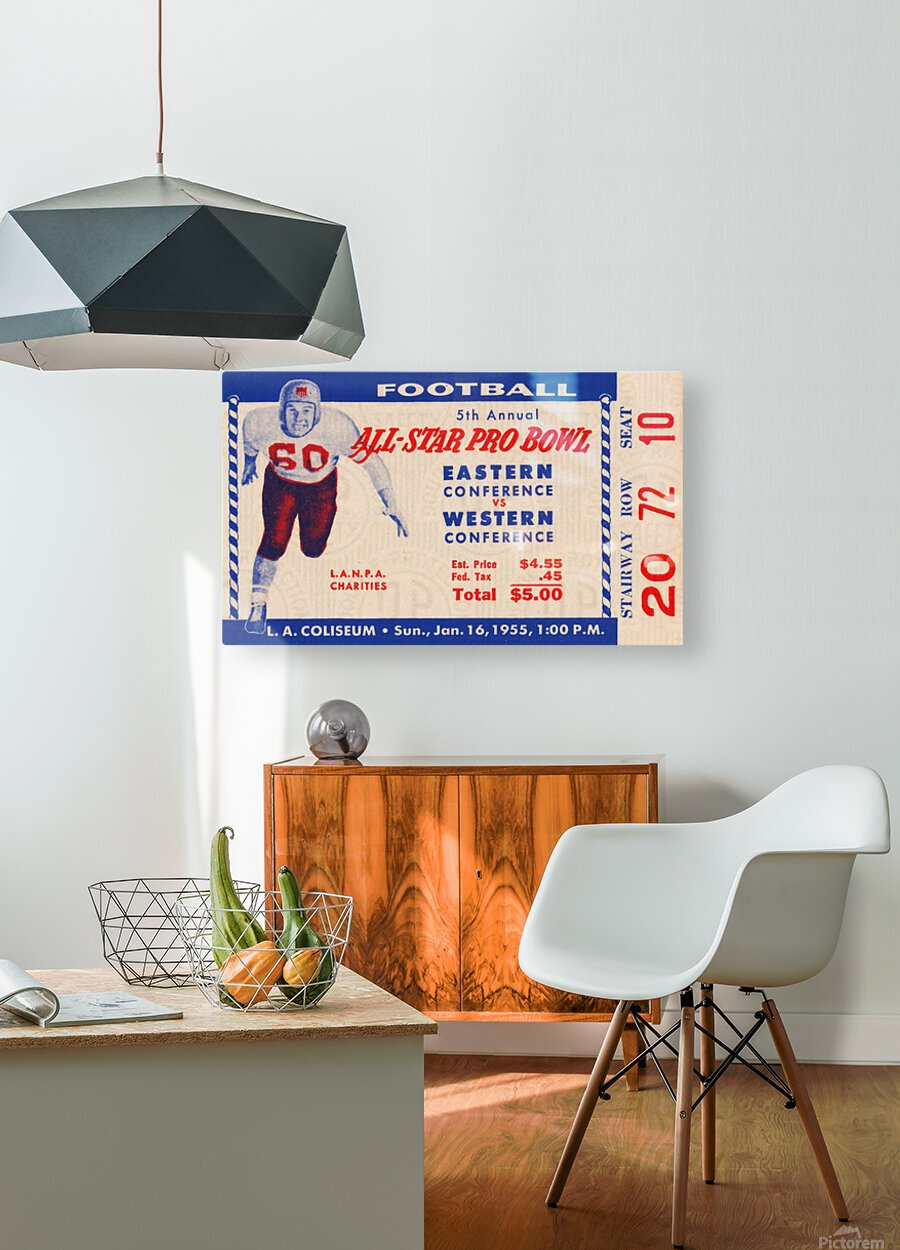 1955 Pro Bowl Football Ticket Stub Art  HD Metal print with Floating Frame on Back