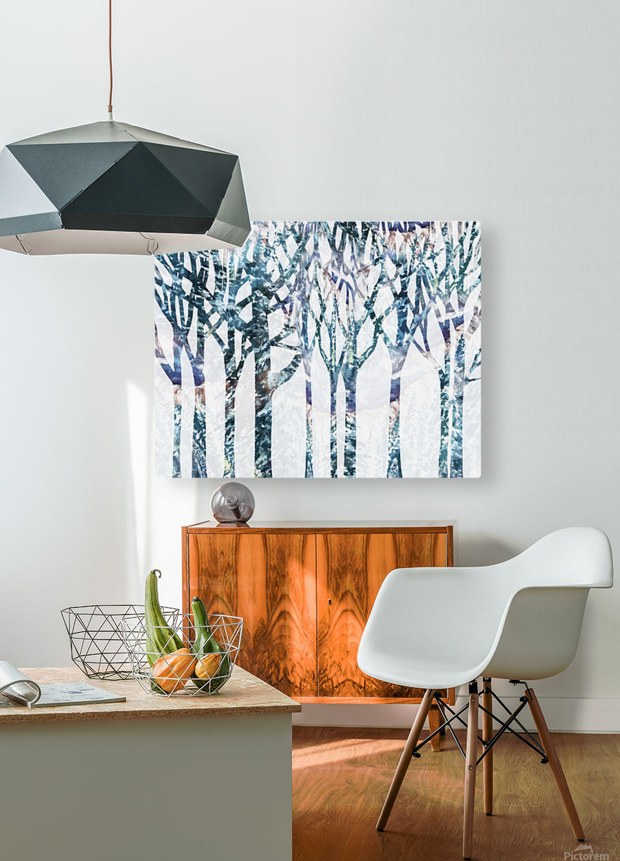 Watercolor Forest Silhouette Winter  HD Metal print with Floating Frame on Back