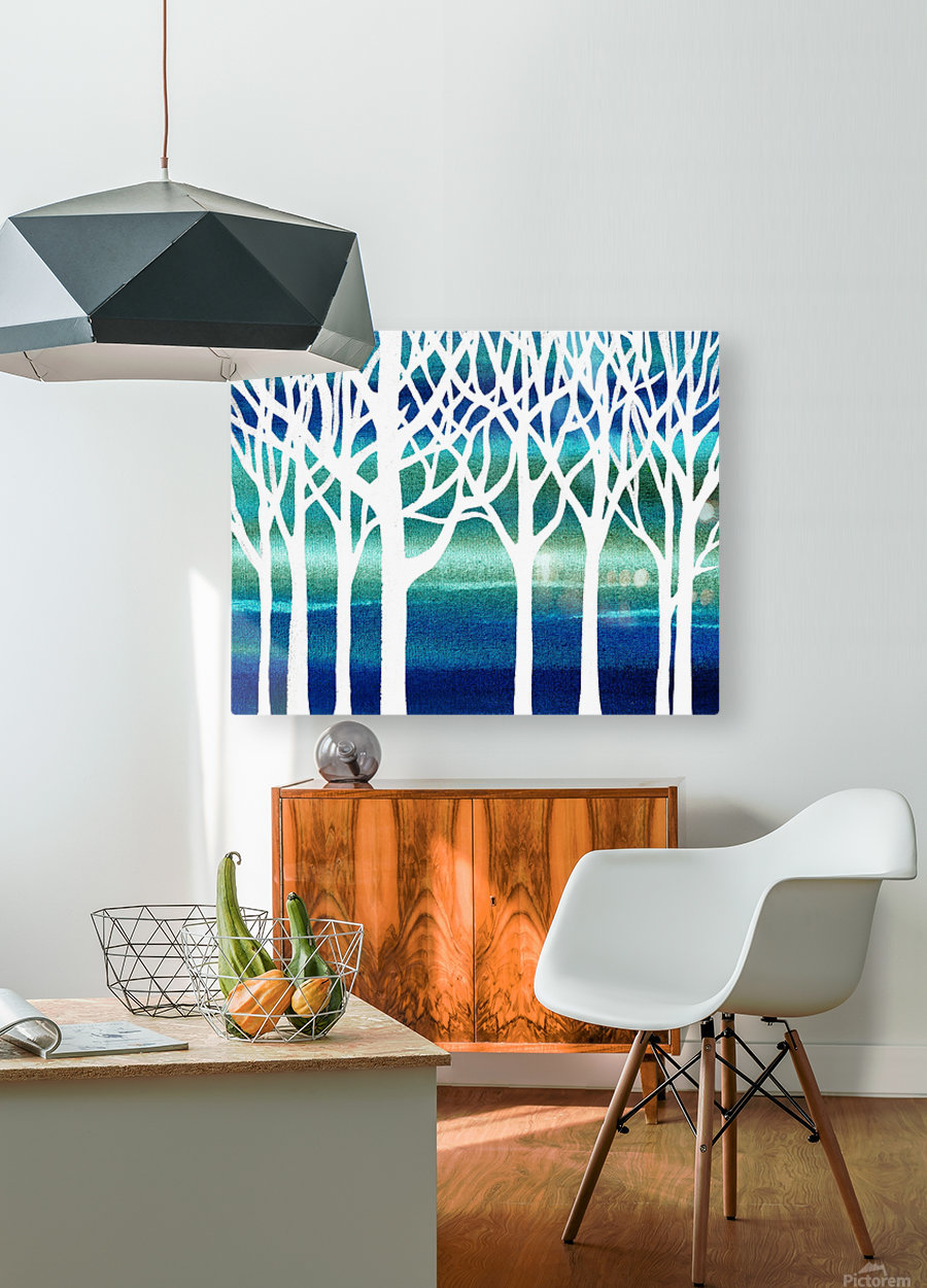 White And Teal Forest  HD Metal print with Floating Frame on Back