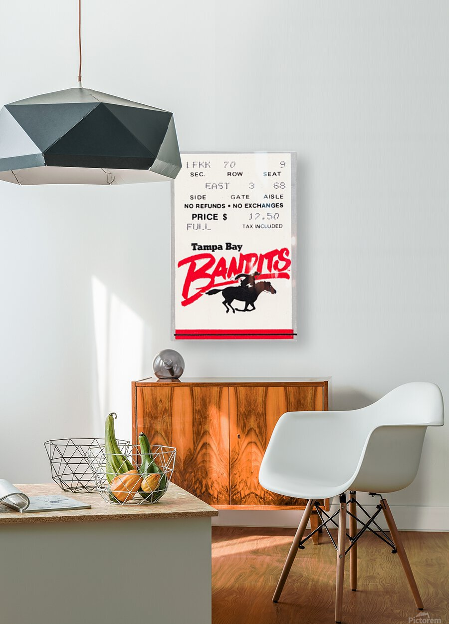 1985 Tampa Bay Bandits Ticket Stub Art  HD Metal print with Floating Frame on Back