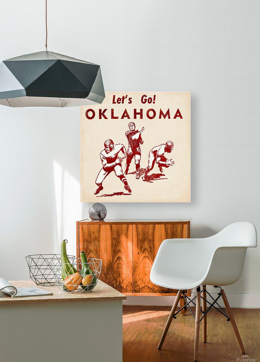 1952 Vintage Oklahoma Football Art  HD Metal print with Floating Frame on Back