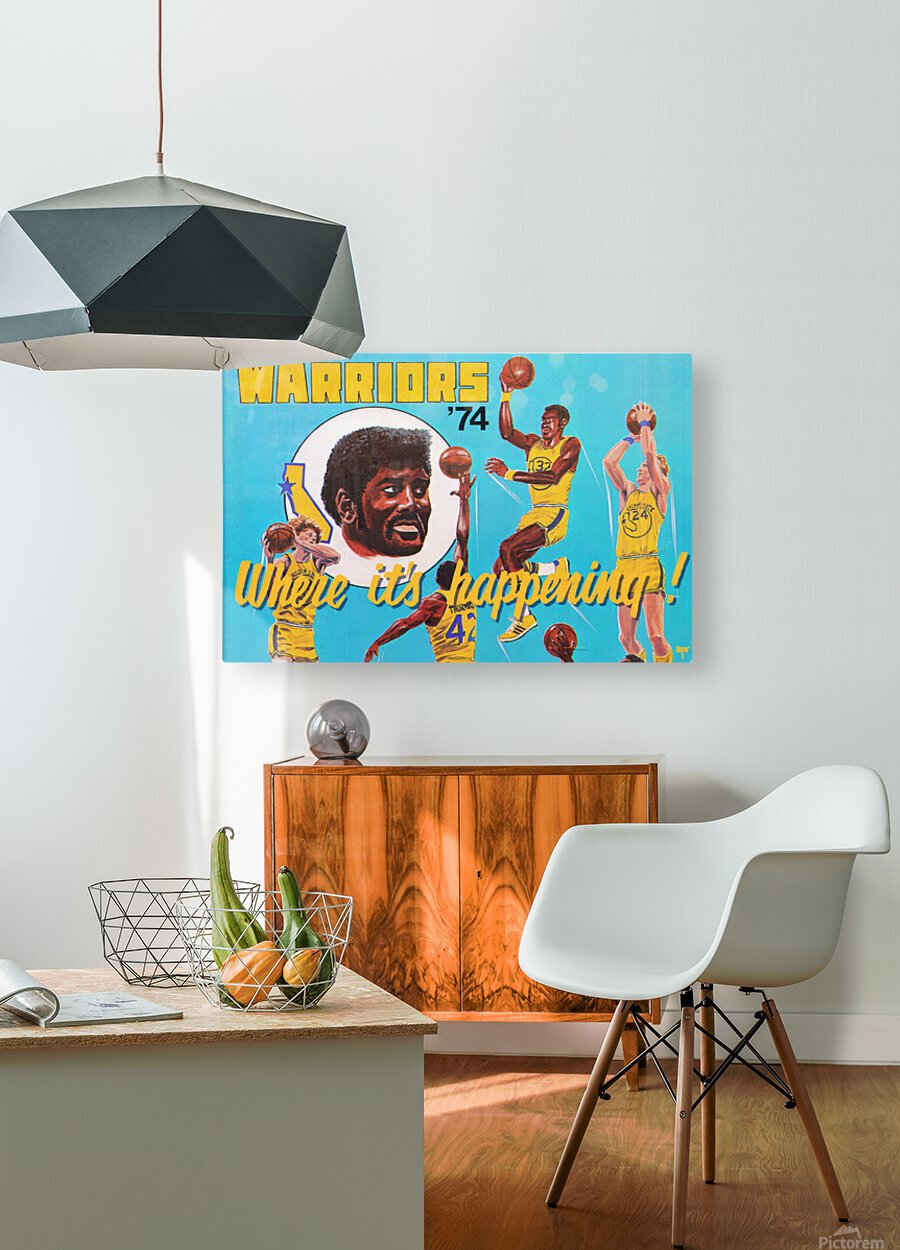 1974 Golden State Warriors Retro Remix Art  HD Metal print with Floating Frame on Back