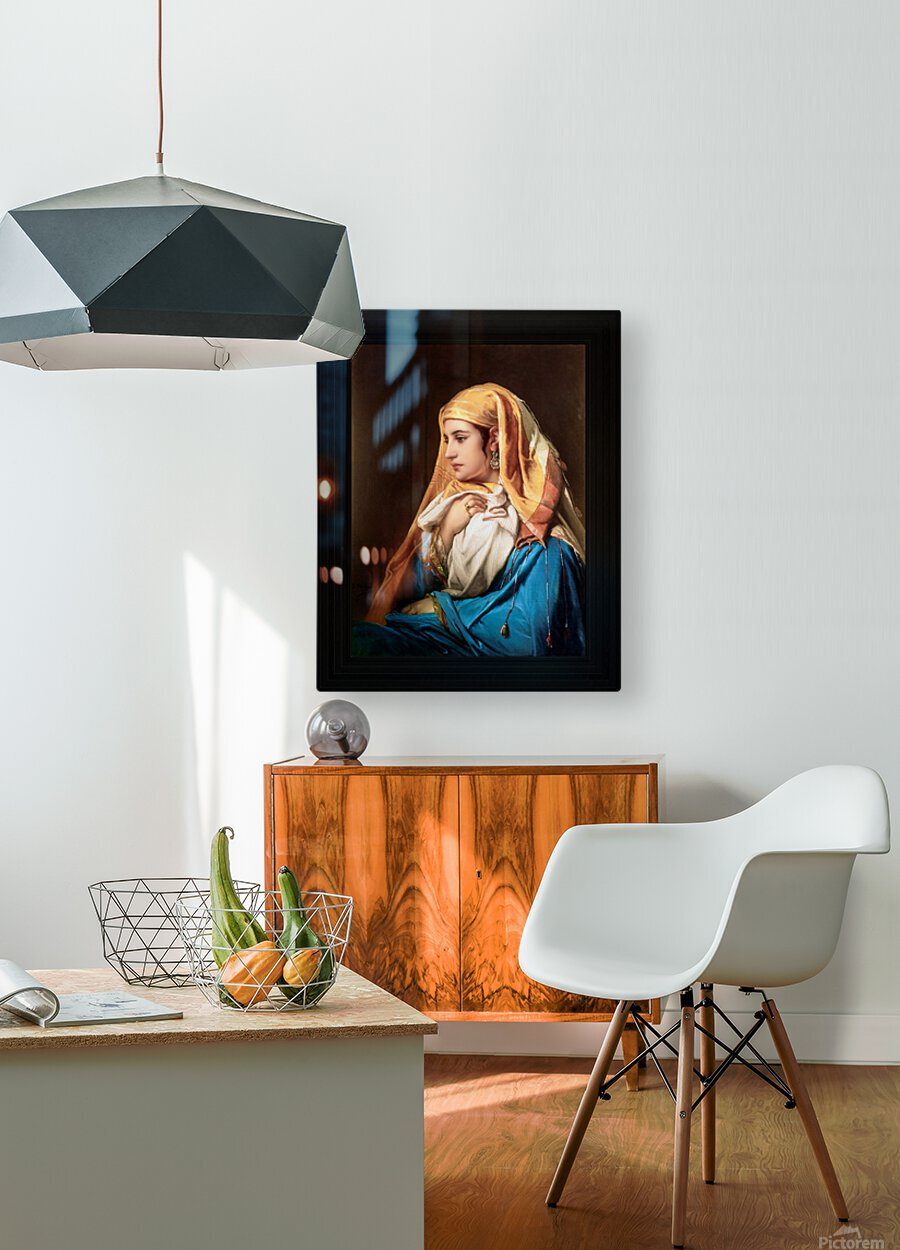 Contemplation by Belgian Painter Jean-Francois Portaels Classical Fine Art Xzendor7 Old Masters Reproductions  HD Metal print with Floating Frame on Back