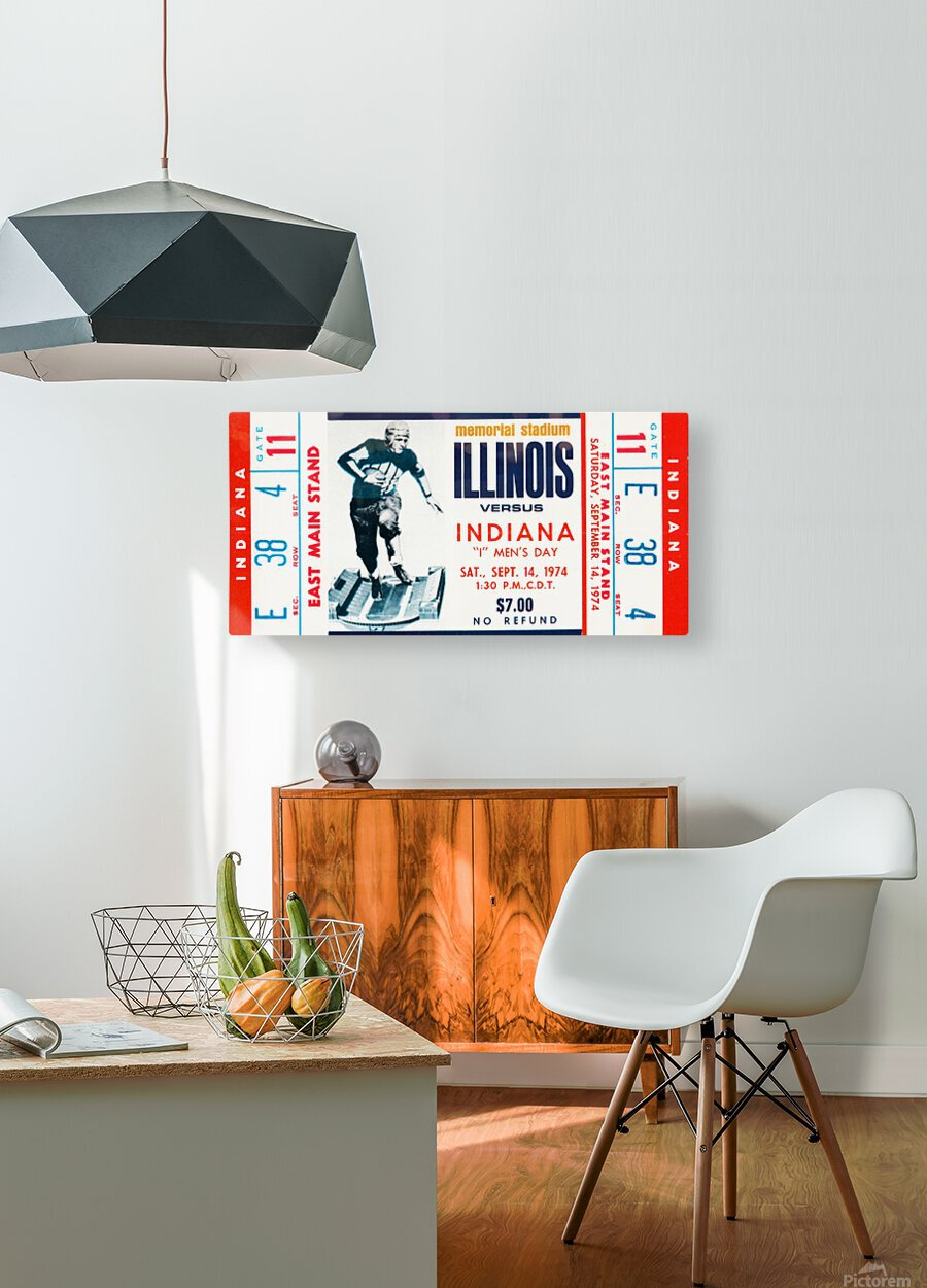 1974 Indiana Hoosiers vs. Illinois Fighting Illini  HD Metal print with Floating Frame on Back
