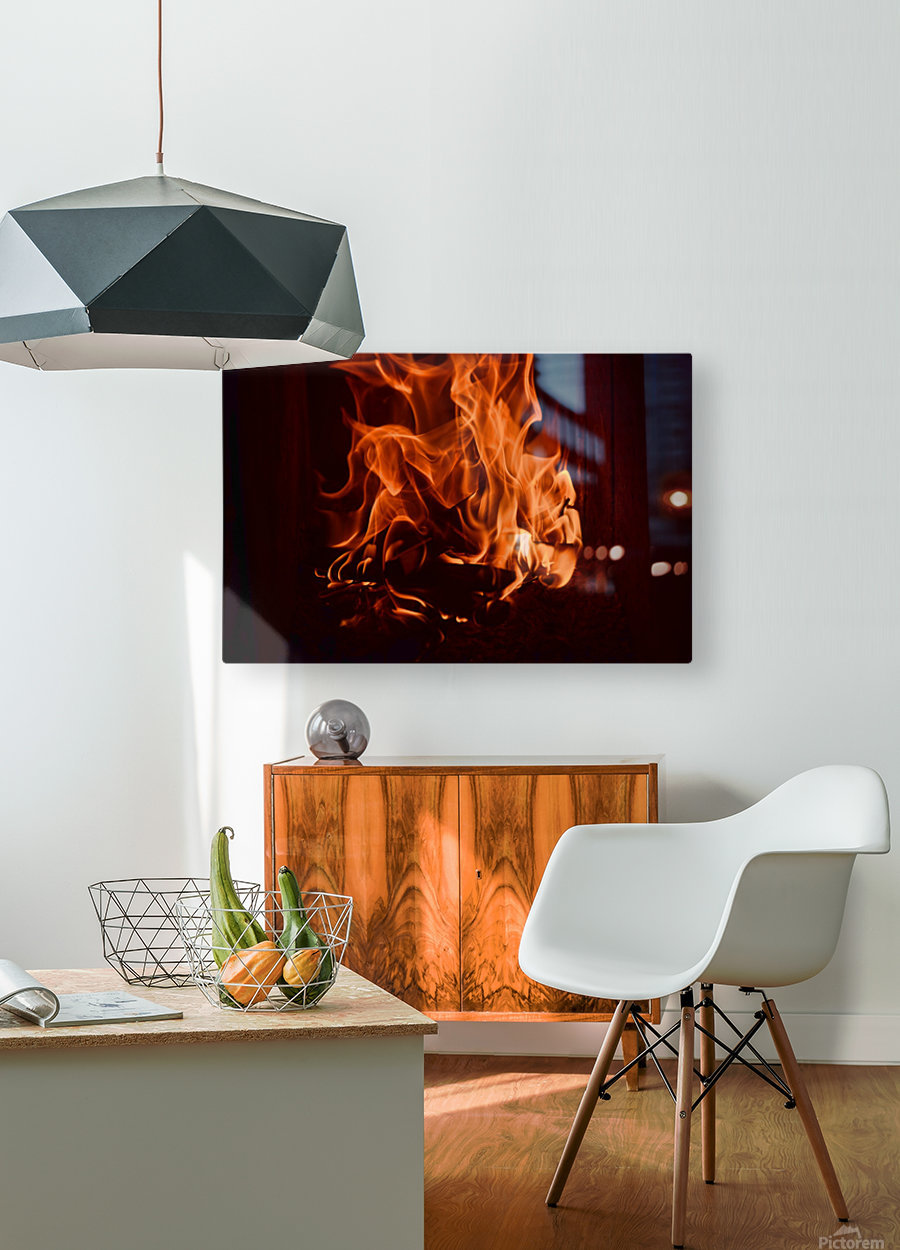 Fierce fire flames in the fireplace  HD Metal print with Floating Frame on Back