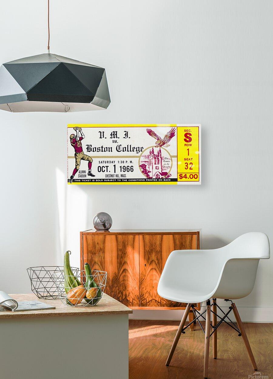 1966 VMI vs. Boston College Eagles Football Ticket Stub Art  HD Metal print with Floating Frame on Back