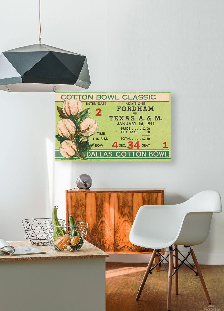 1941 Fordham vs. Texas AM Cotton Bowl Ticket Art  HD Metal print with Floating Frame on Back