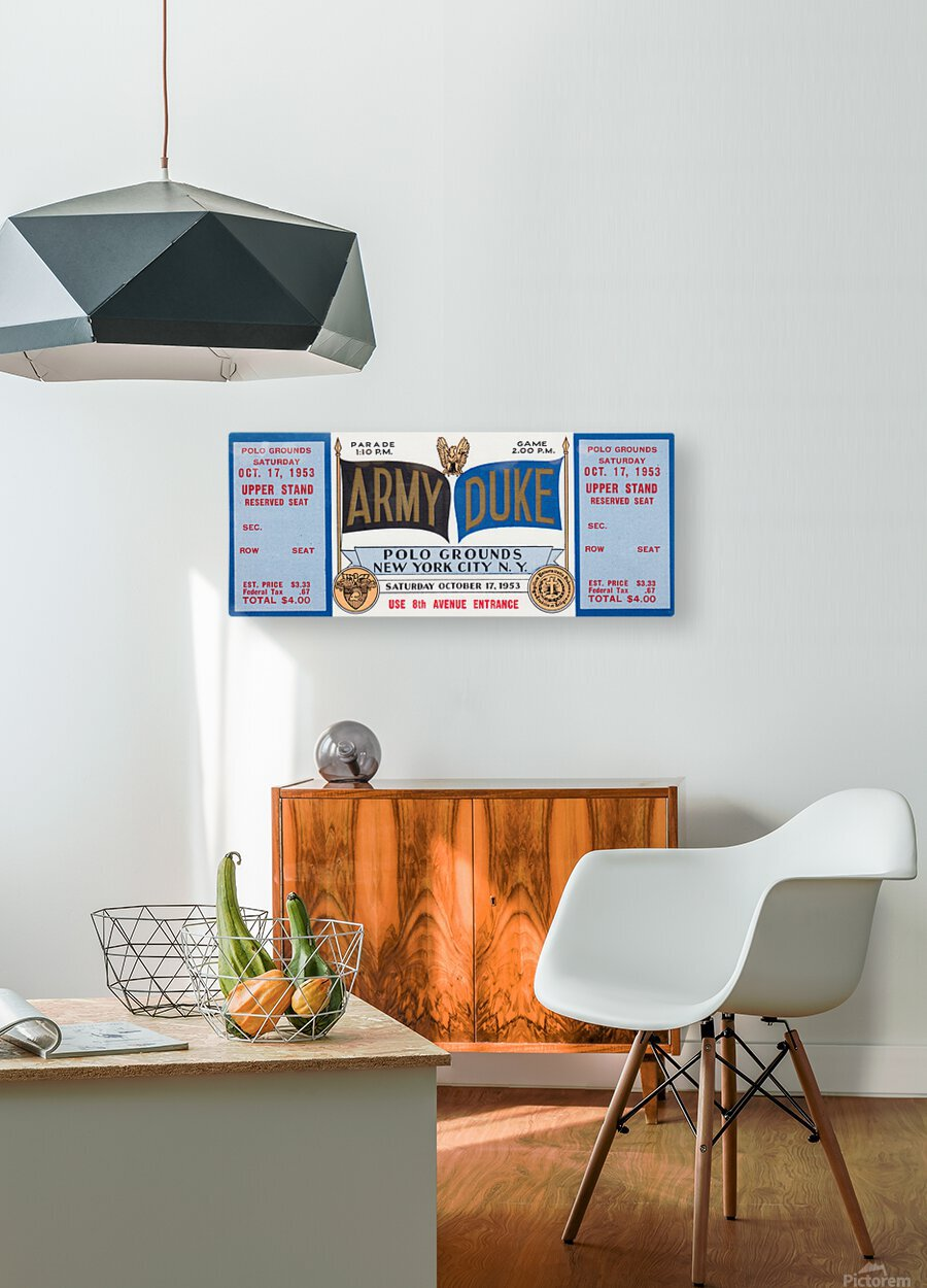 1953 Duke vs. Army Football Ticket Stub Art  HD Metal print with Floating Frame on Back