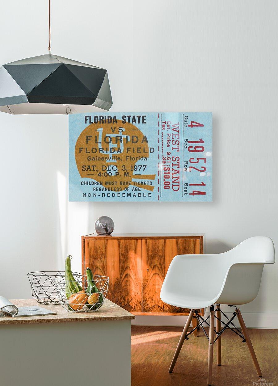 1977 Florida State vs. Florida Football Ticket Art  HD Metal print with Floating Frame on Back