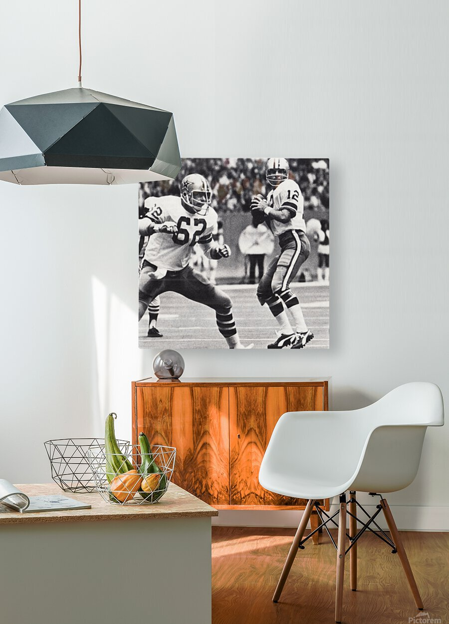 Retro Dallas Cowboys Roger Staubach Photo Art  HD Metal print with Floating Frame on Back