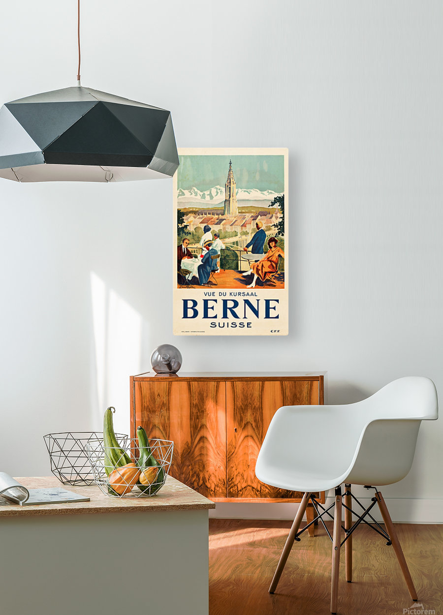 Bern, Switzerland Travel Poster  HD Metal print with Floating Frame on Back