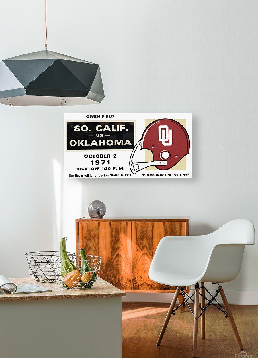 1971 USC vs. Oklahoma Football Ticket Stub Remix Art   HD Metal print with Floating Frame on Back