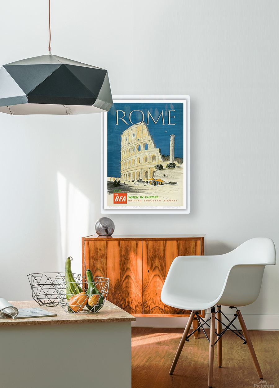 British European Airways travel poster for Rome  HD Metal print with Floating Frame on Back