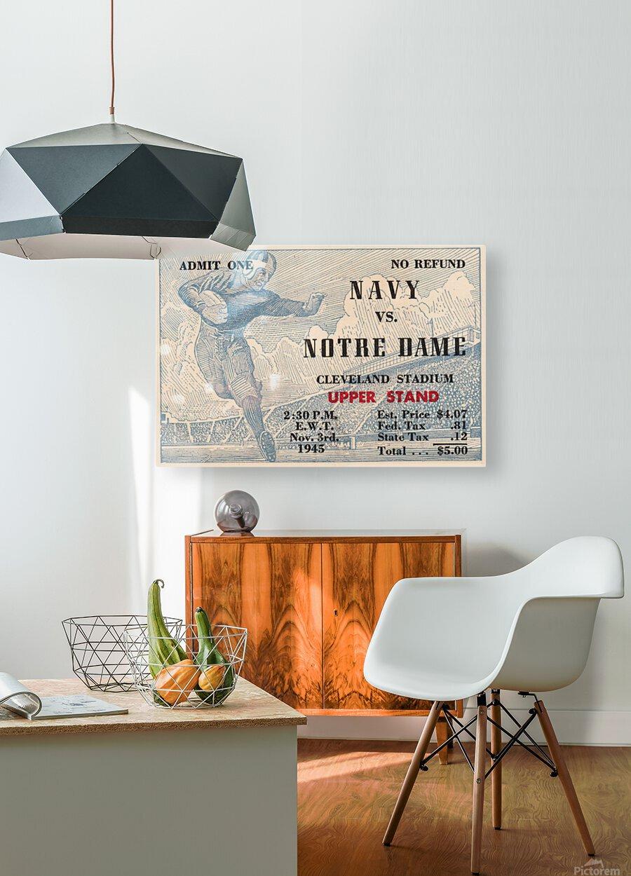 1945 Notre Dame vs. Navy Football Ticket Stub Metal Sign  HD Metal print with Floating Frame on Back