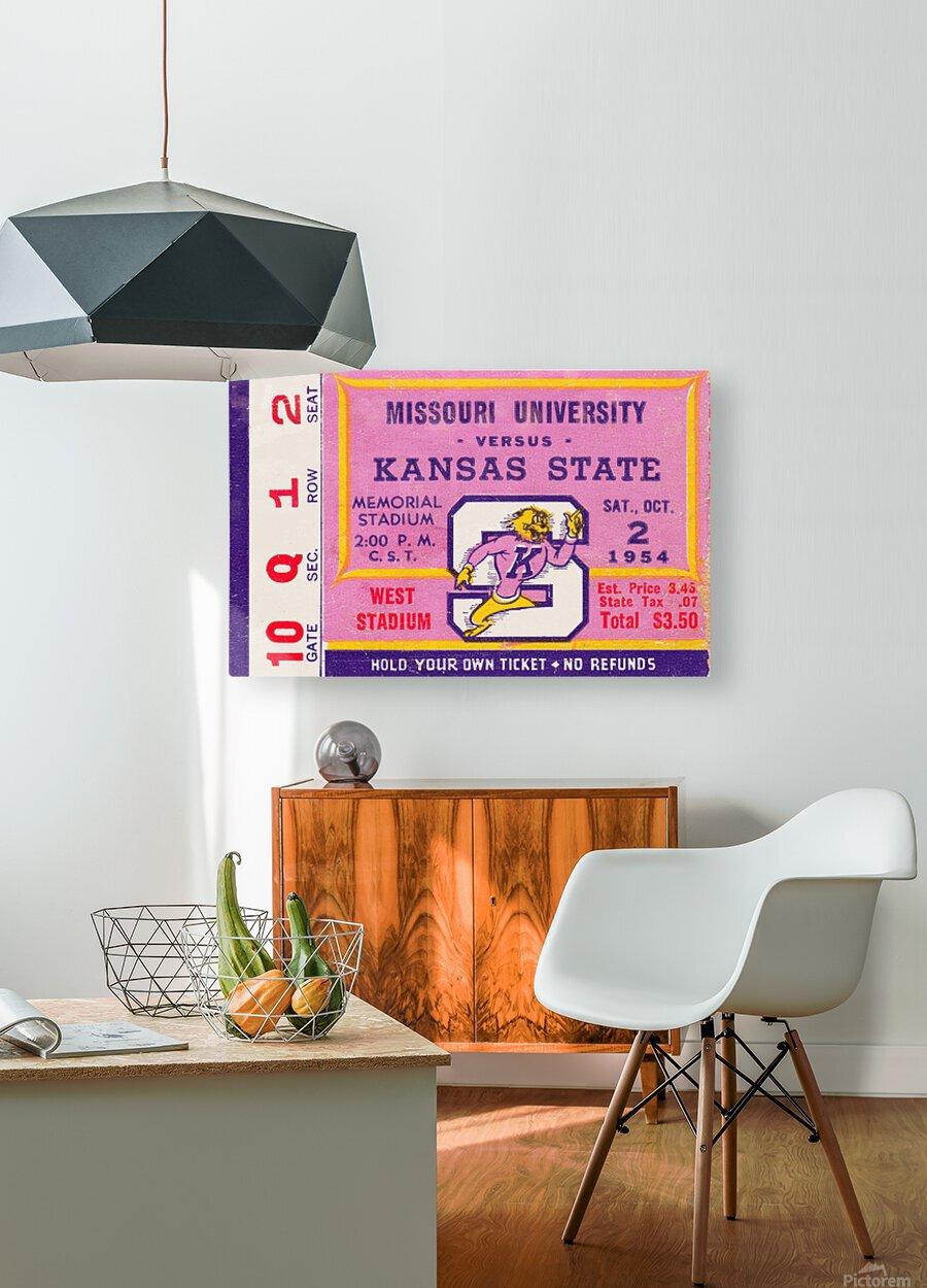 1954 Missouri Tigers vs. Kansas State Wildcats Ticket Stub Art  HD Metal print with Floating Frame on Back