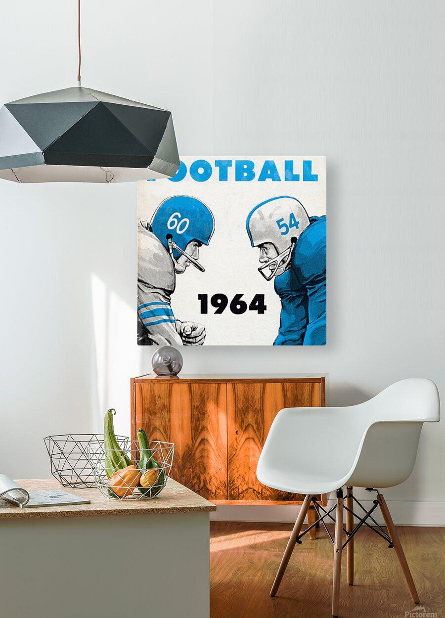 1964 Linemen Football Art  HD Metal print with Floating Frame on Back