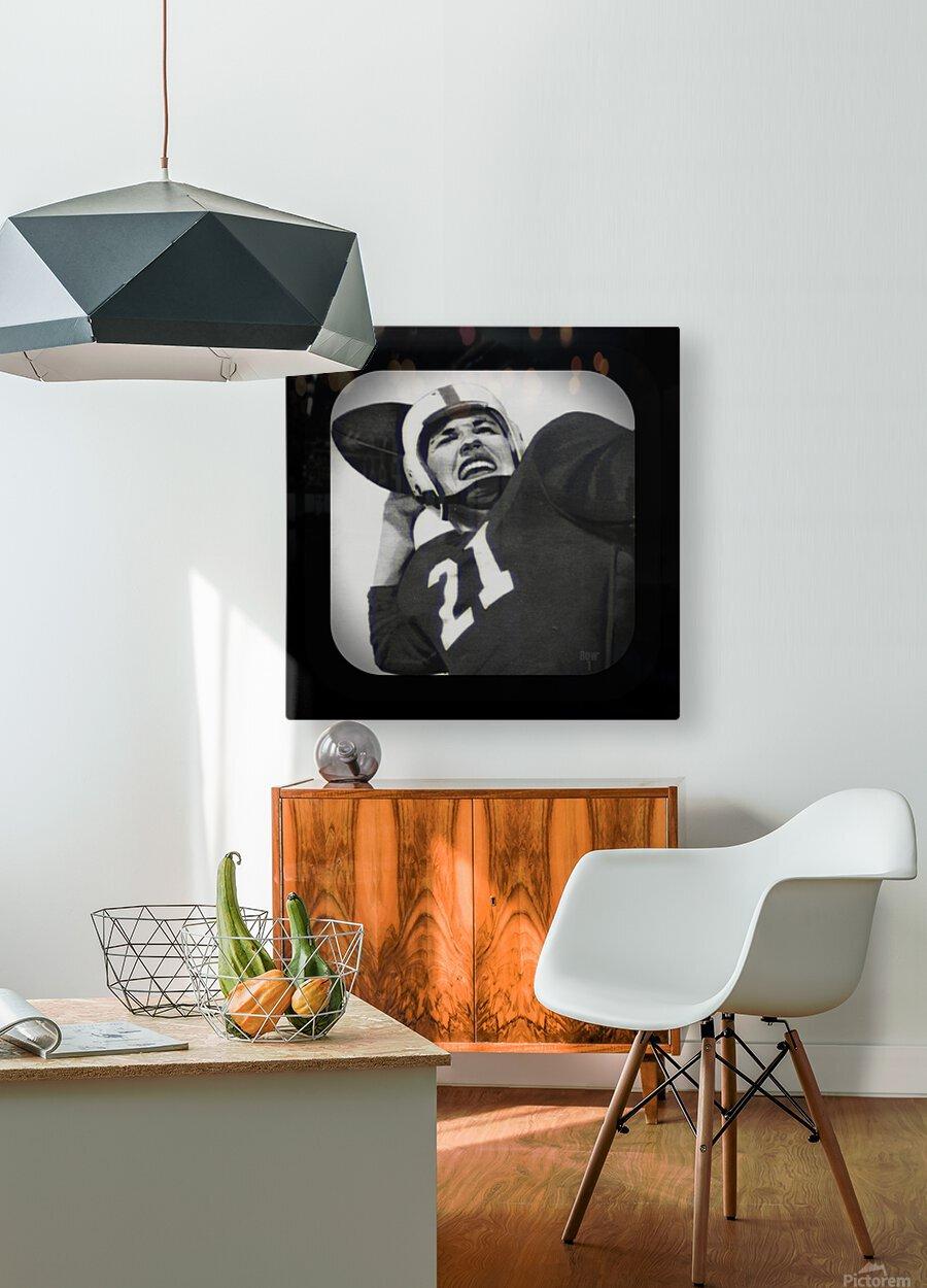 1954 Vintage Television Set Football Quarterback Art  HD Metal print with Floating Frame on Back