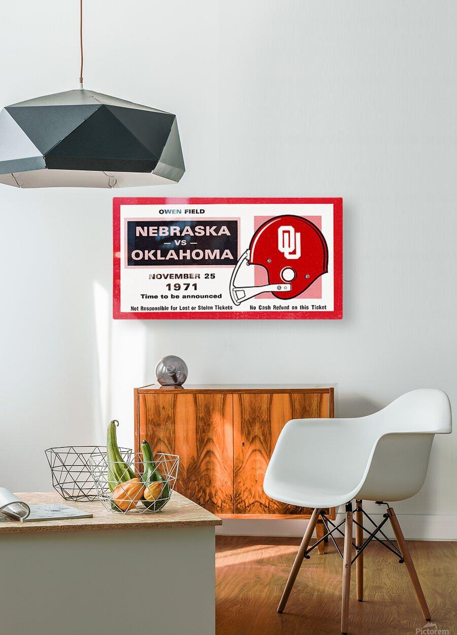 1971 Oklahoma Nebraska Game of the Century Ticket Stub Remix Canvas Art  HD Metal print with Floating Frame on Back