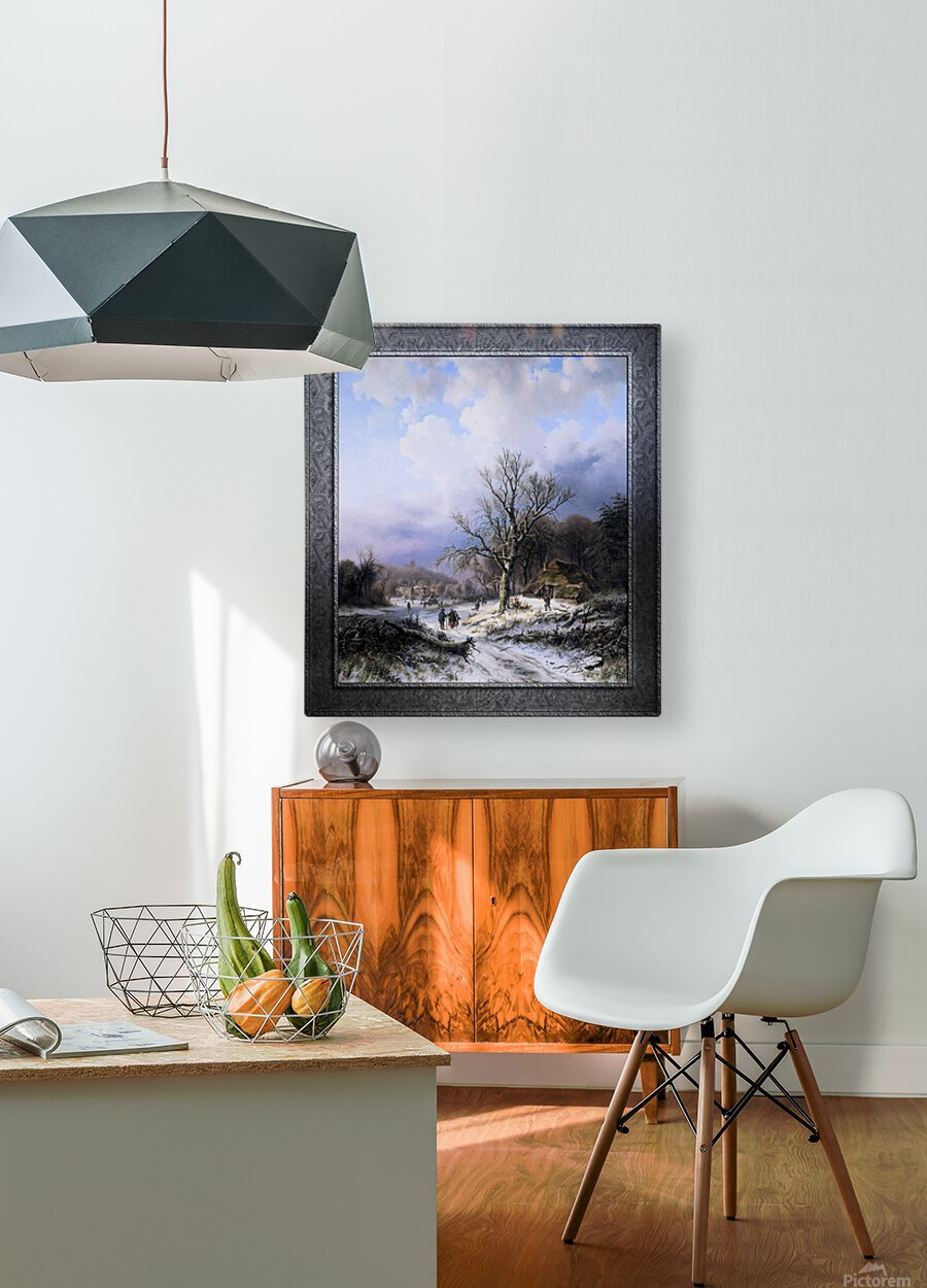 Snow Landscape by Alexander Joseph Daiwaille Classical Art Xzendor7 Old Masters Reproductions  HD Metal print with Floating Frame on Back