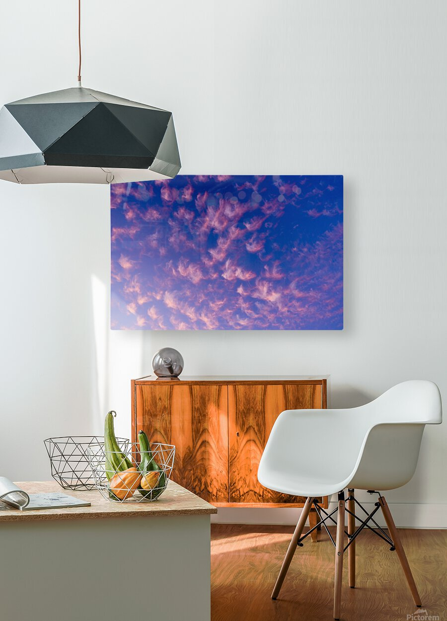 Pink and White Cotton Candy Skies over the Pacific Northwest   Abstract Expressionist Robert Stanek Original  HD Metal print with Floating Frame on Back