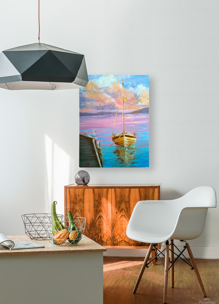tranquility floating boat patiently waiting for new adventure.  HD Metal print with Floating Frame on Back