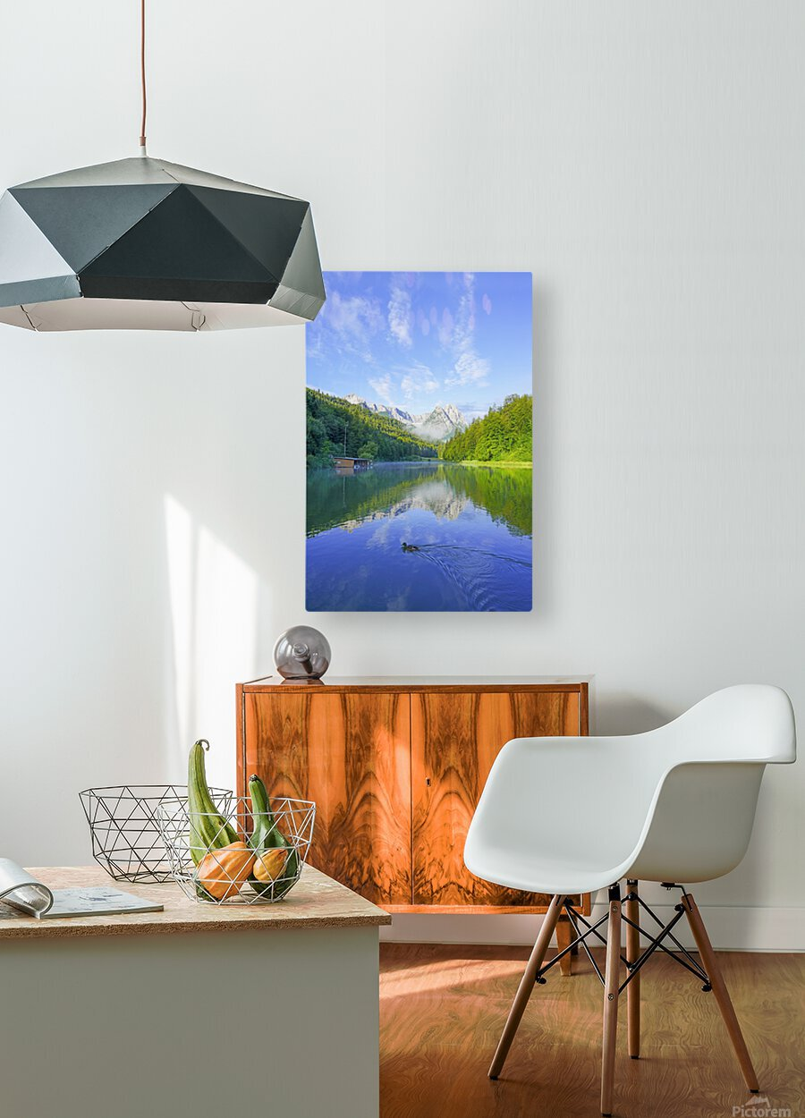 Blue Skies over the Riessersee in the Bavarian Alps near Garmisch Germany  HD Metal print with Floating Frame on Back
