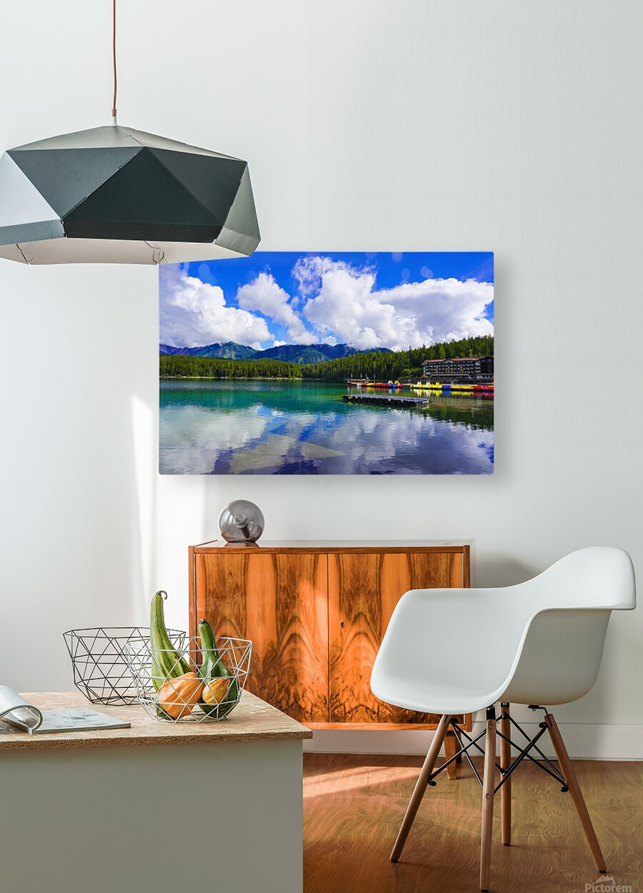 Brilliant Blue Skies over Lake Eibsee with Friederalm and Enningalm of the southern Ammergauer Alps in the Background  HD Metal print with Floating Frame on Back