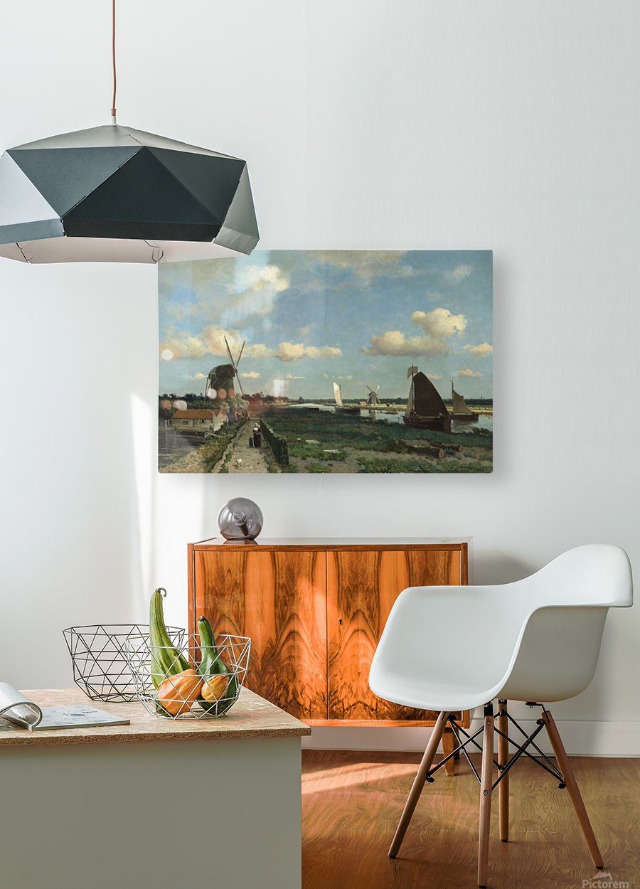 Dutch landscape with mill and figures  HD Metal print with Floating Frame on Back