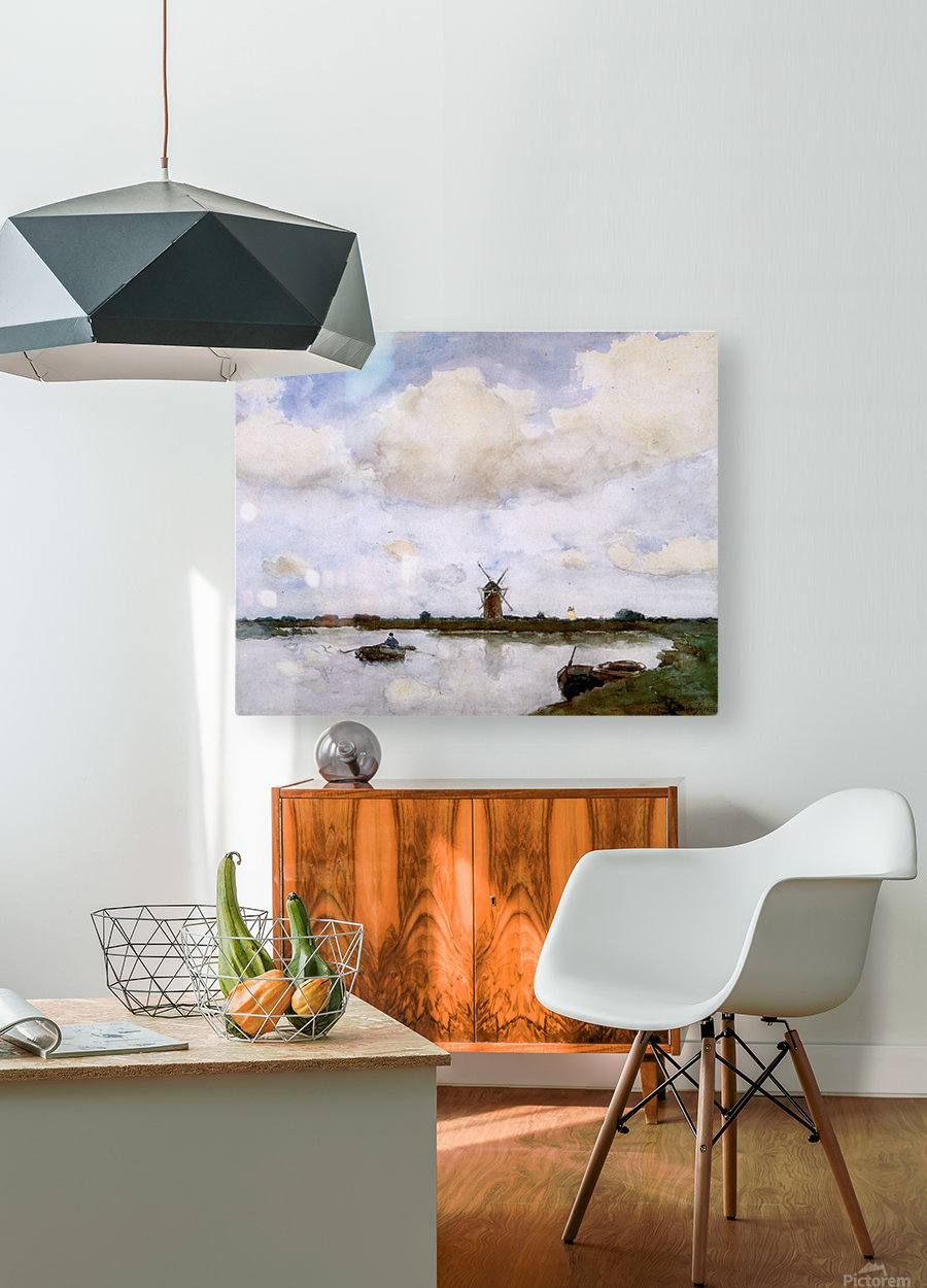 Mill at the lake Sun  HD Metal print with Floating Frame on Back