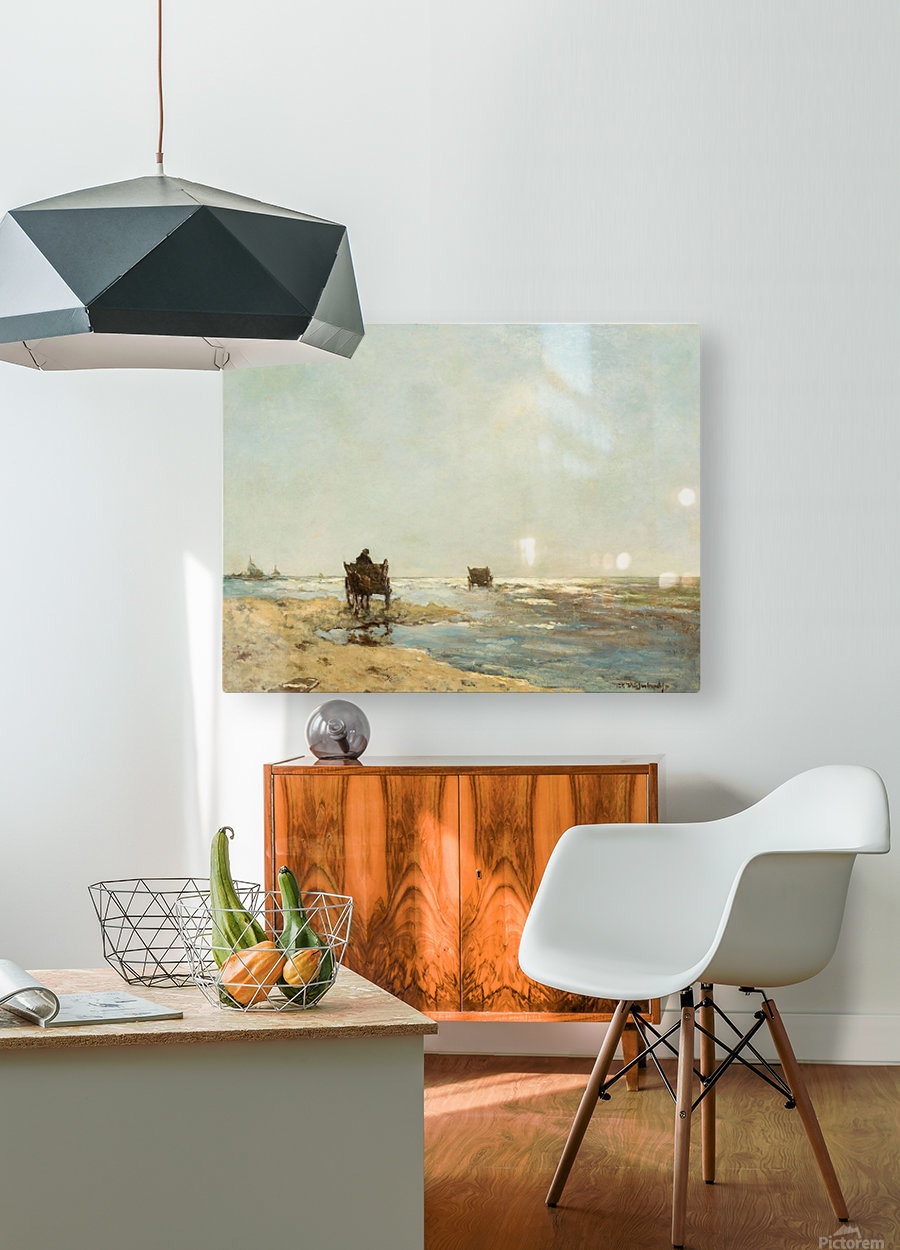Sunny landscape with lake and figures  HD Metal print with Floating Frame on Back
