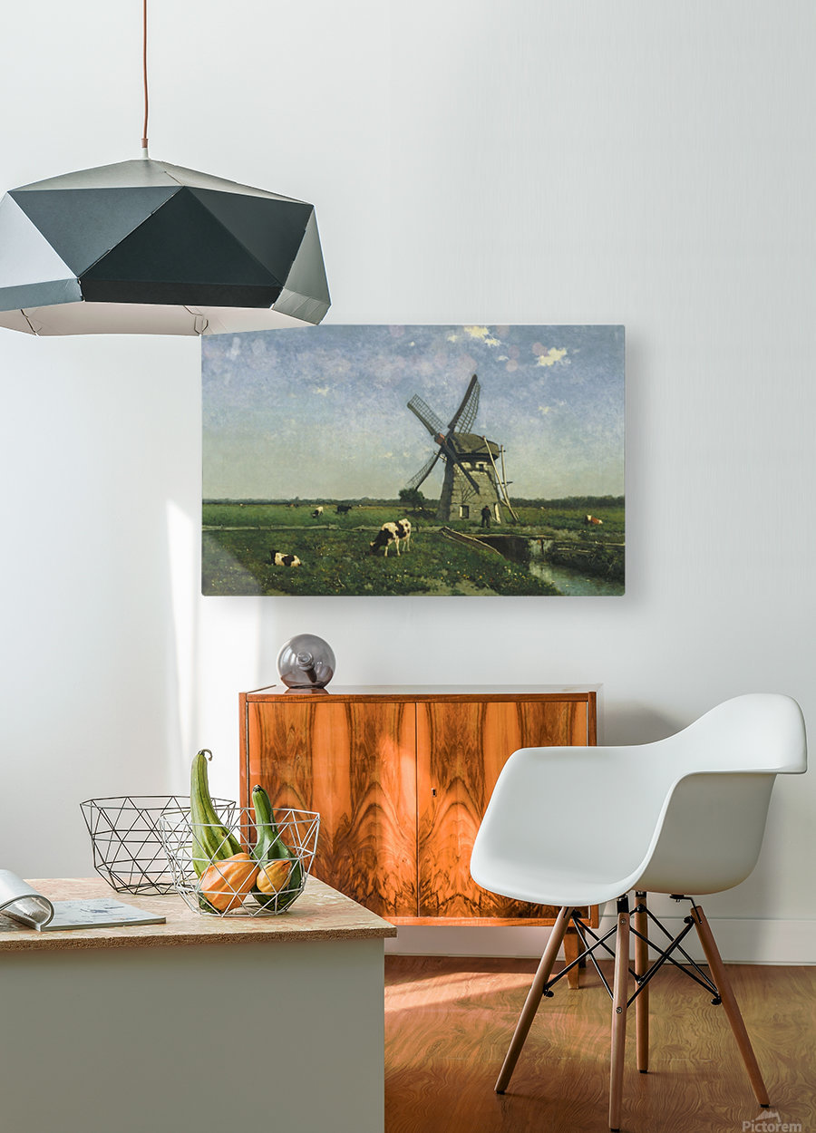Landscape with Windmill near Schiedam  HD Metal print with Floating Frame on Back