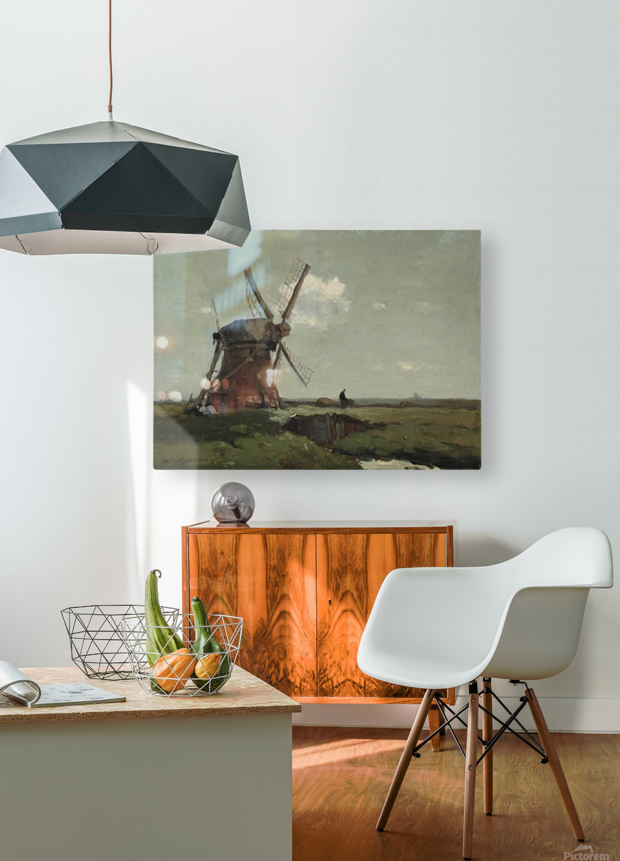 Windmill in a polder landscape, near Noorden  HD Metal print with Floating Frame on Back