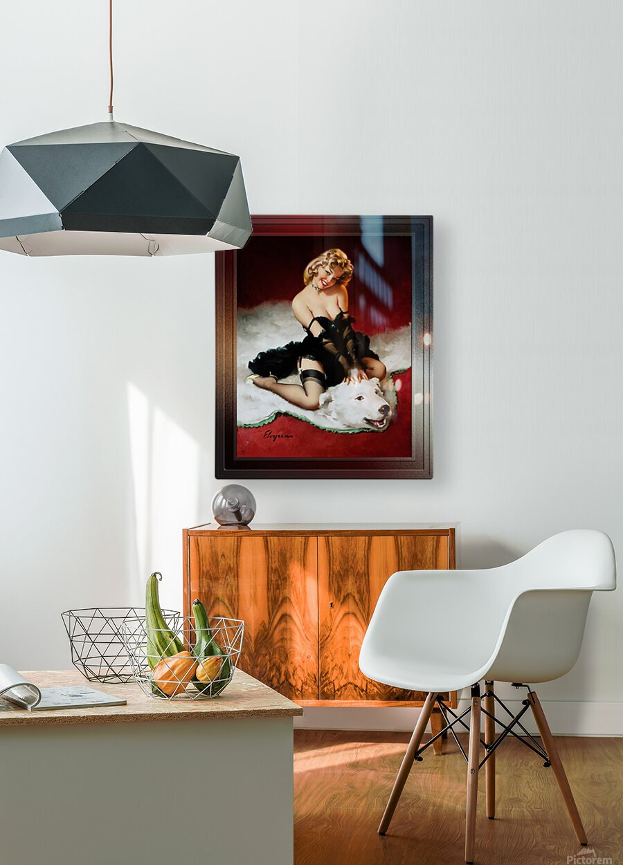 Bear Facts c1959 by Gil Elvgren Vintage Pinup Illustration Xzendor7 Old Masters Reproductions  HD Metal print with Floating Frame on Back