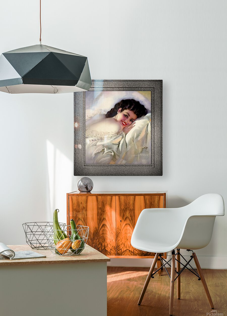 Sweet Dreams by Rolf Armstrong Vintage Illustration Xzendor7 Art Reproductions  HD Metal print with Floating Frame on Back