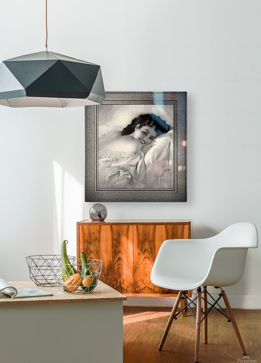 Sweet Dreams by Rolf Armstrong Vintage Illustration Xzendor7 Art Reproductions BW  HD Metal print with Floating Frame on Back
