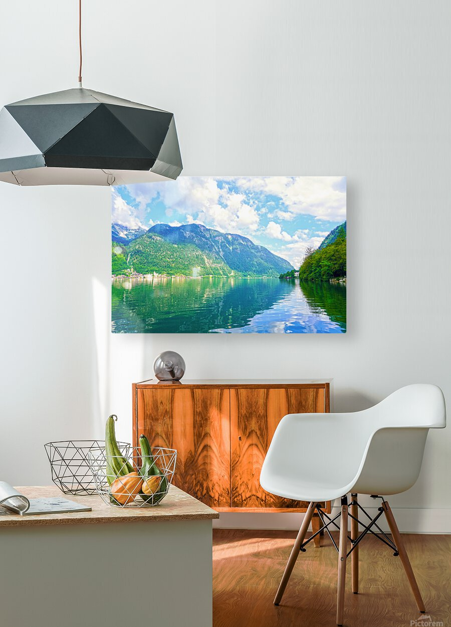 Hallstatt and Grub Castle with Beautiful Reflections in the Waters of Lake Hallstatt  HD Metal print with Floating Frame on Back
