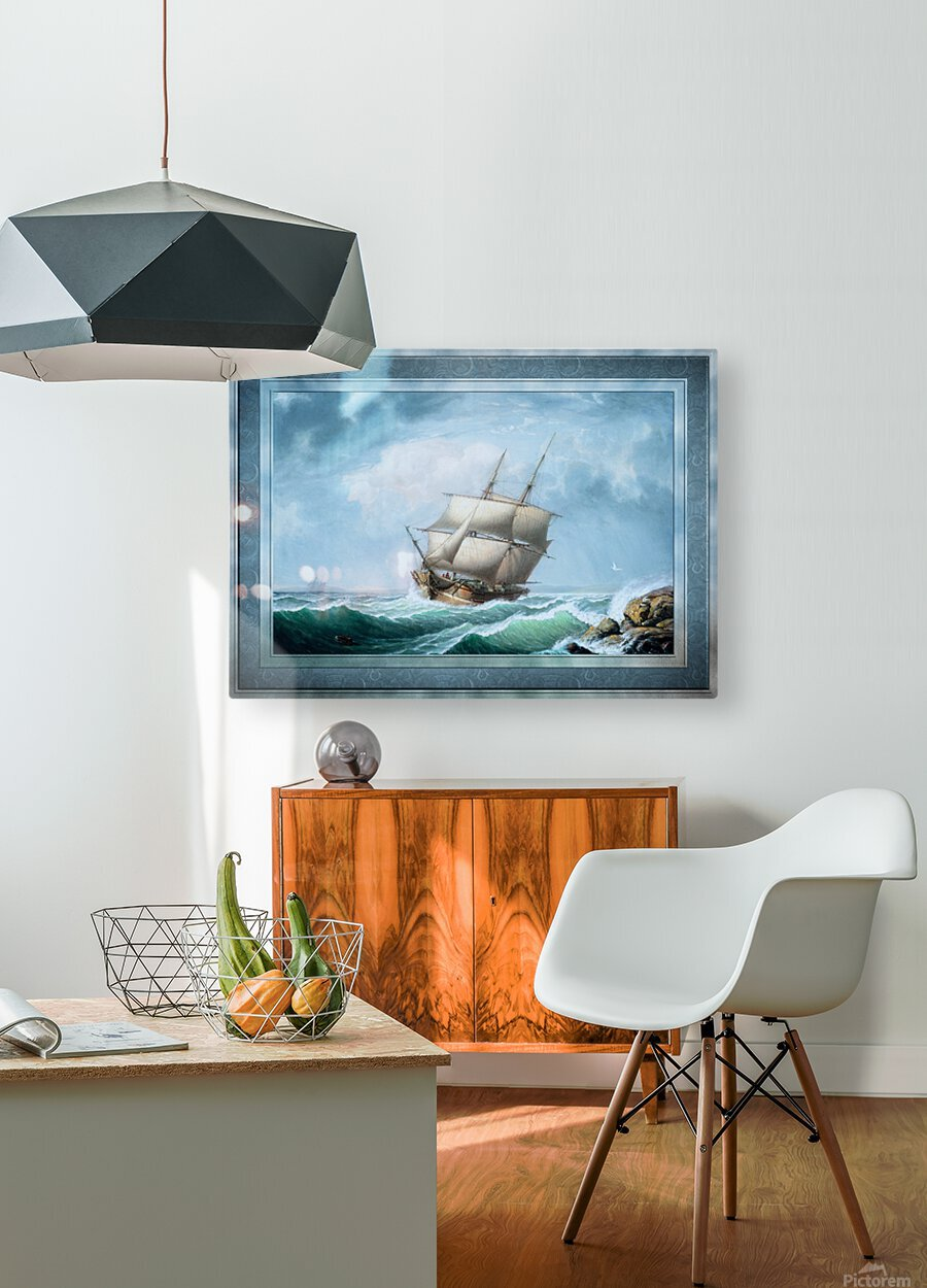 Brig Off the Maine Coast by Fitz Hugh Lane Classical Marine Fine Art Xzendor7 Old Masters Reproductions  HD Metal print with Floating Frame on Back