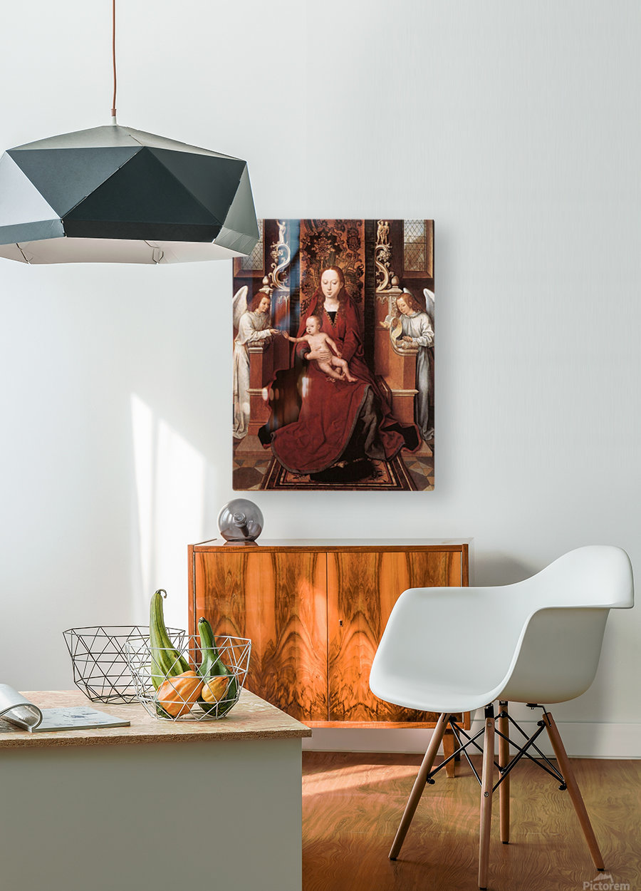Virgin and Child enthroned with two Angels  HD Metal print with Floating Frame on Back