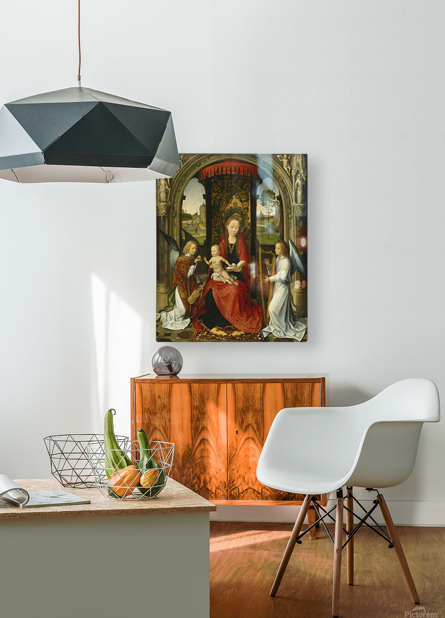 Madonna and Child with Angels  HD Metal print with Floating Frame on Back