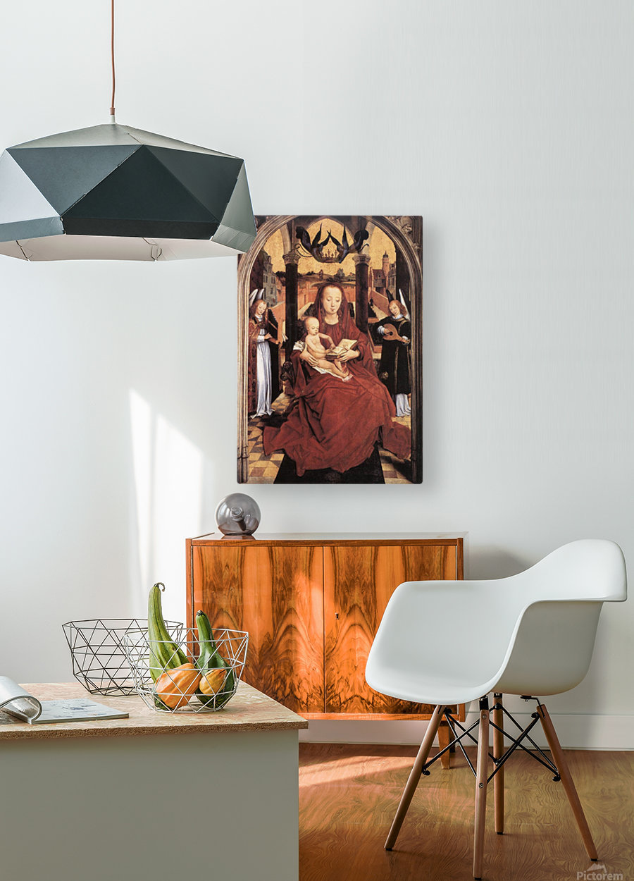 Virgin and Child Enthroned with two Musical Angels  HD Metal print with Floating Frame on Back