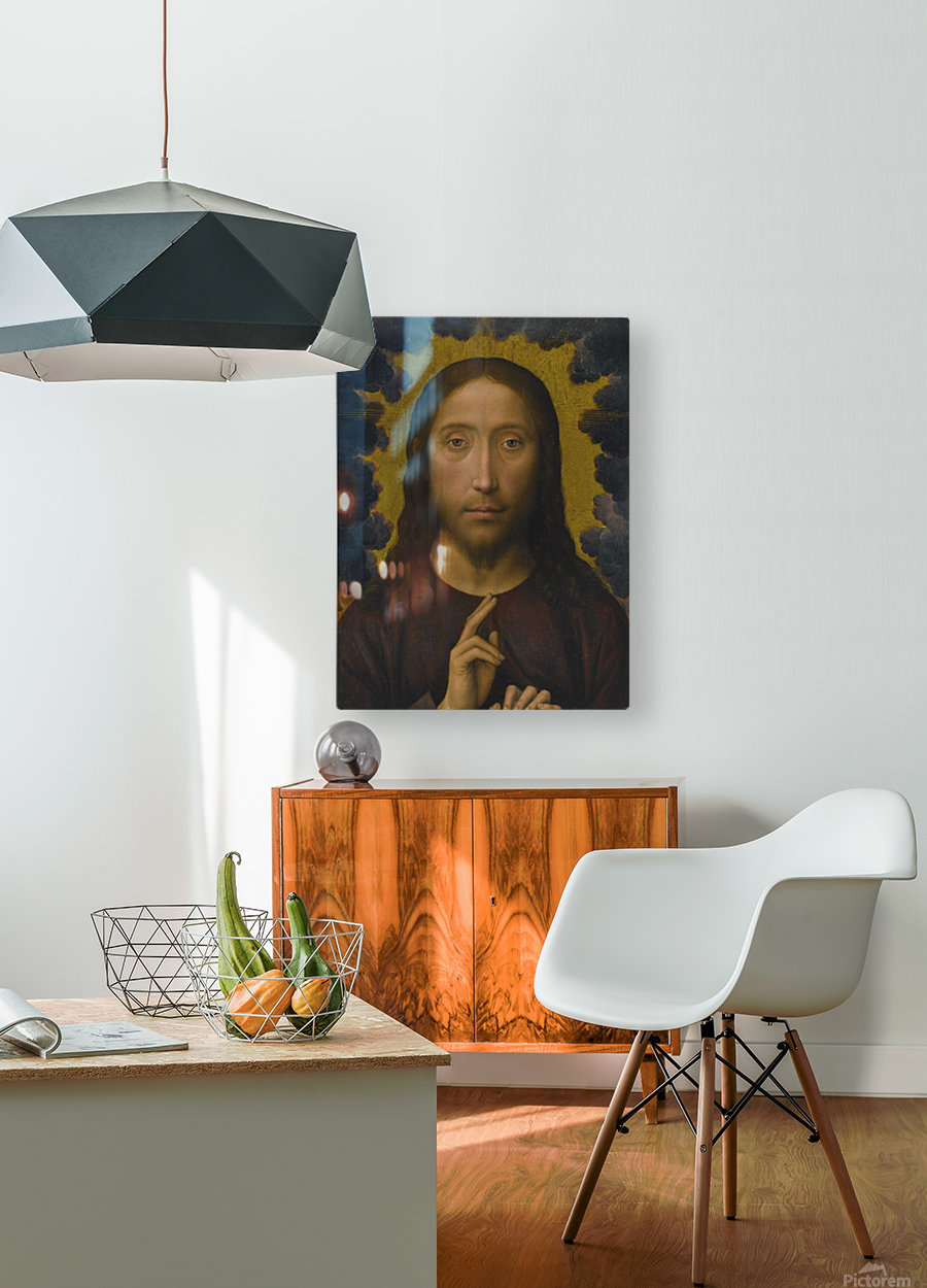 Christ Blessing  HD Metal print with Floating Frame on Back