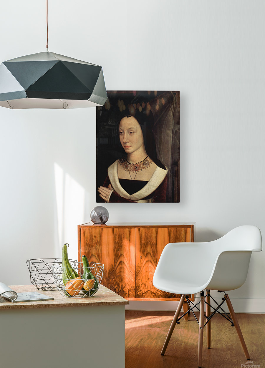 Portrait of Maria Portinari, 1475  HD Metal print with Floating Frame on Back