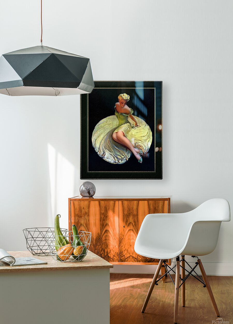 Golden Girl by Roy Best Vintage Illustration Xzendor7 Art Reproductions  HD Metal print with Floating Frame on Back