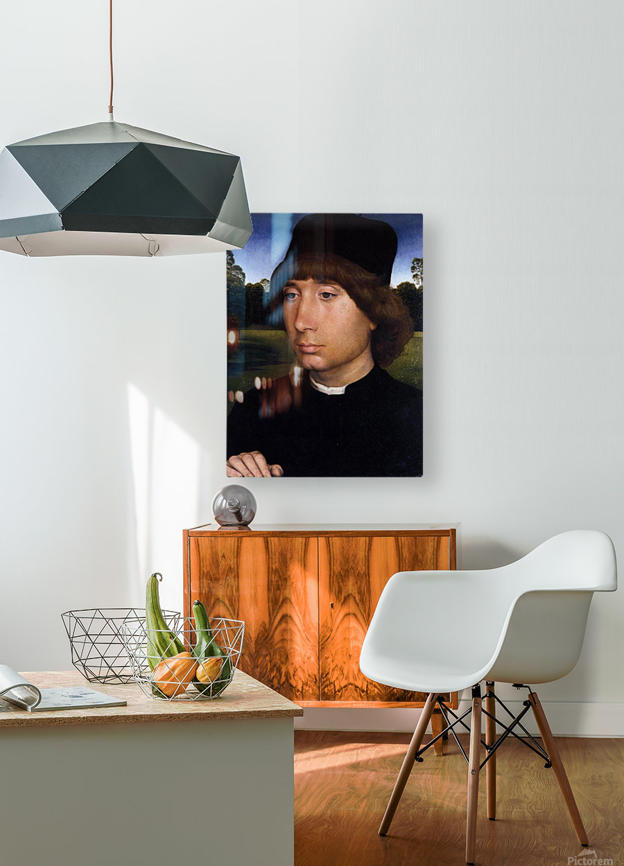 Portrait of a Young Man before a Landscape  HD Metal print with Floating Frame on Back
