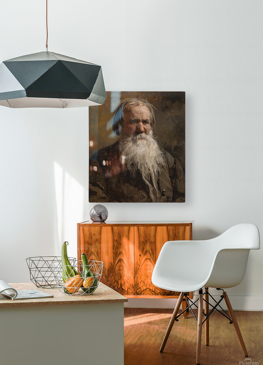 Portrait of an old man  HD Metal print with Floating Frame on Back