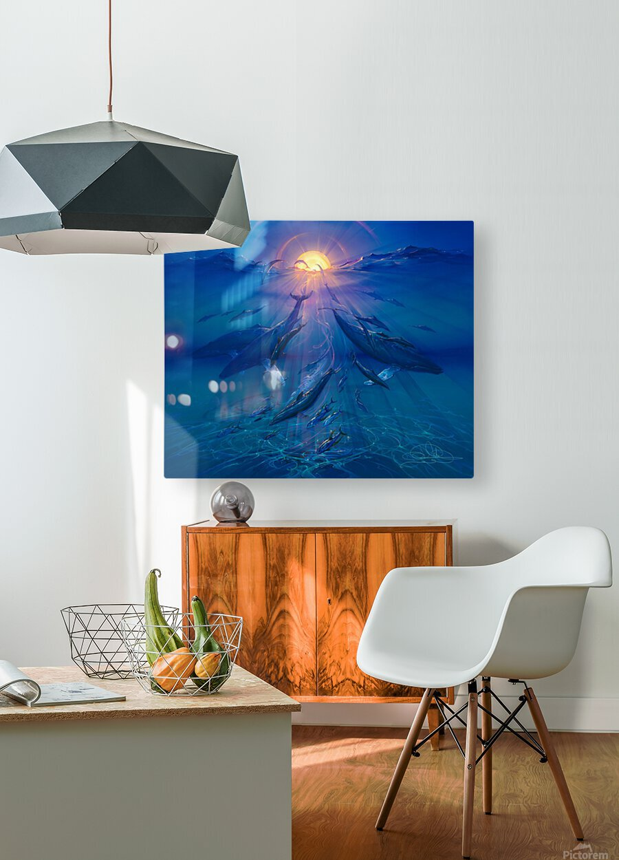 Pacific Sunrise  HD Metal print with Floating Frame on Back